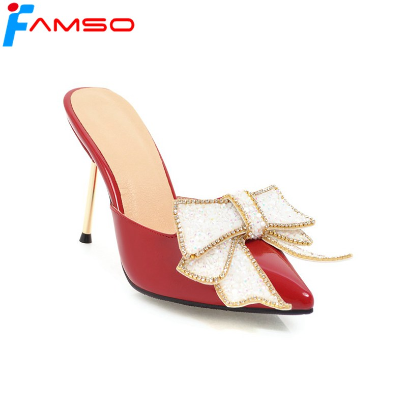 FAMSO Size34-43 2018 Shoes Women Sandals Pointed Toe Silver Red Wedding Shoes Rhinestone Glitter High Heels Leather Sandals Shoe<br>
