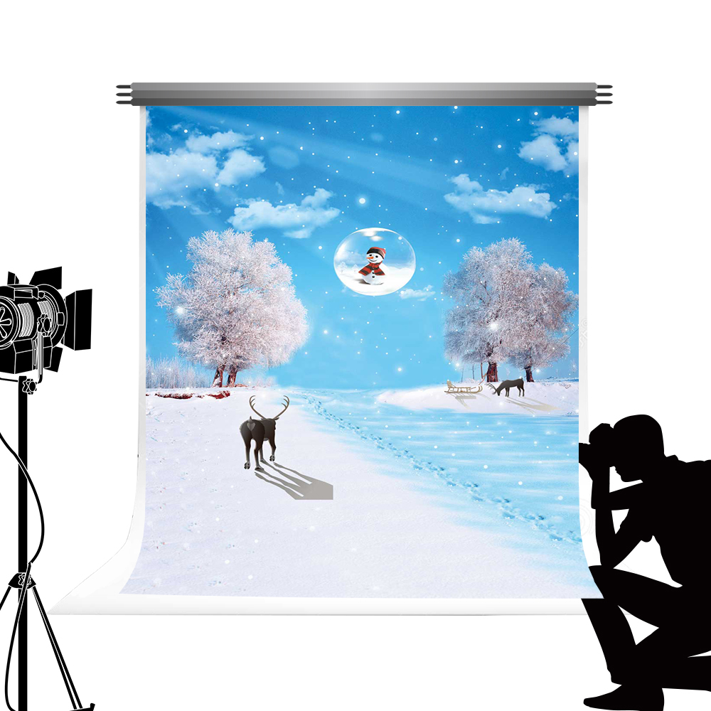 Kate Cartoon Winter Photography Backdrop Bokeh Snowflake Photo Backgrounds Snowman Photo Booth Snow for X-mas Photography 5x7ft<br>