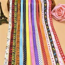 "New 5 Yards 3/8"" 10mm Cartoon Printed Cute Grosgrain Ribbon Wholesale For Crafts DIY Clothing Ingredients Lace Ribbon ruban(China)"
