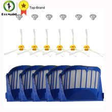 5pcs Blue Aero Vac Filters and 6pcs 3-Armed Side Brush and 6 Screws For iRobot Roomba Replacement 500 600 Series robots cleaning(China)