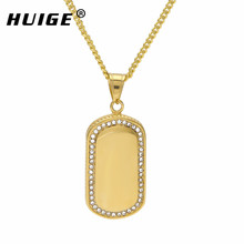 Hip Hop Stainless Steel Dog Tag Necklace Iced Out Rhinestone Chain Necklace Punk Men's Jewelry With 3mm 24inch Cuban Chain