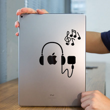 "Earphone & Melody Tablet PC Laptop Decal Sticker for iPad 1/2/3/4/Air/mini/Pro 7.9"" / 9.7"" / 12.9"" Art Notebook Sticker Skin"