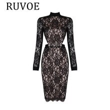 2017 Women Elegant Lace Party Dress Plus Size Long Sleeve Back Open Casual Dress, Sexy Cocktail Party Wear Deres BH-12