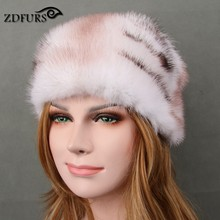Glaforny 2017 New Imported Whole Mink Fur Beanies Luxury Fur Skullies Natural Fur Hats lady's Winter Warm Caps Women High-end(China)