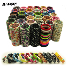 HUANSEN 20pcs/lot hair accessories ornaments Women Print Children hair bands Nice 2016 New Gum for hair Adult Elastic girls