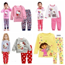 New Children Clothing Set Baby boy's pajamas suits Girls Clothing Sets sleepwear hello kitty/ pajamas cartoon 100% cotton s