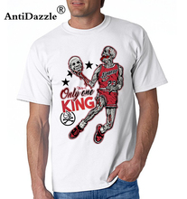 Antidazzle Hot Sale Vogue Michael Jordan The King Skulls Funny Design Men's Short Sleeve T shirt Printed Casual T-shirt
