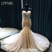 Lace Mermaid Wedding Dresses 2017 Sweetheart Sleeveless Lace Up Sweep Train Applique and Lace Bridal Dresses With Belt