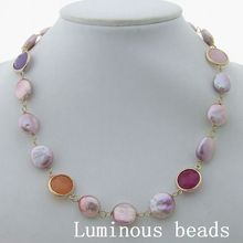 "GE032705 18"" Purple Coin Keshi Pearl Multi Color Necklace(China)"