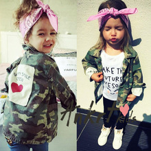 Ins* children clothing autumn girls jackets and coats Camouflage printed girls denim jackets casual girls windbreaker jackets(China)