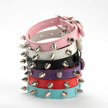 New Pet Cat Dog PU Leather Rivet Spiked Studded Adjustable Collar Buckle High Quality PU Leather Cat Neck Strap Adjustable