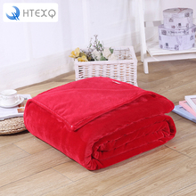 Hot Home textile flannel Blanket pink plaid super warm soft blankets throw on Sofa/Bed/Plane Travel patchwork solid Bedspread(China)