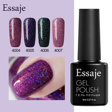 Essaje Glitter Neon Nail Gel for Full Set Gel Manicure Colorful Lacquer Shiny Color Nail Art need UV Led lamp Gel Nail Polish(China)
