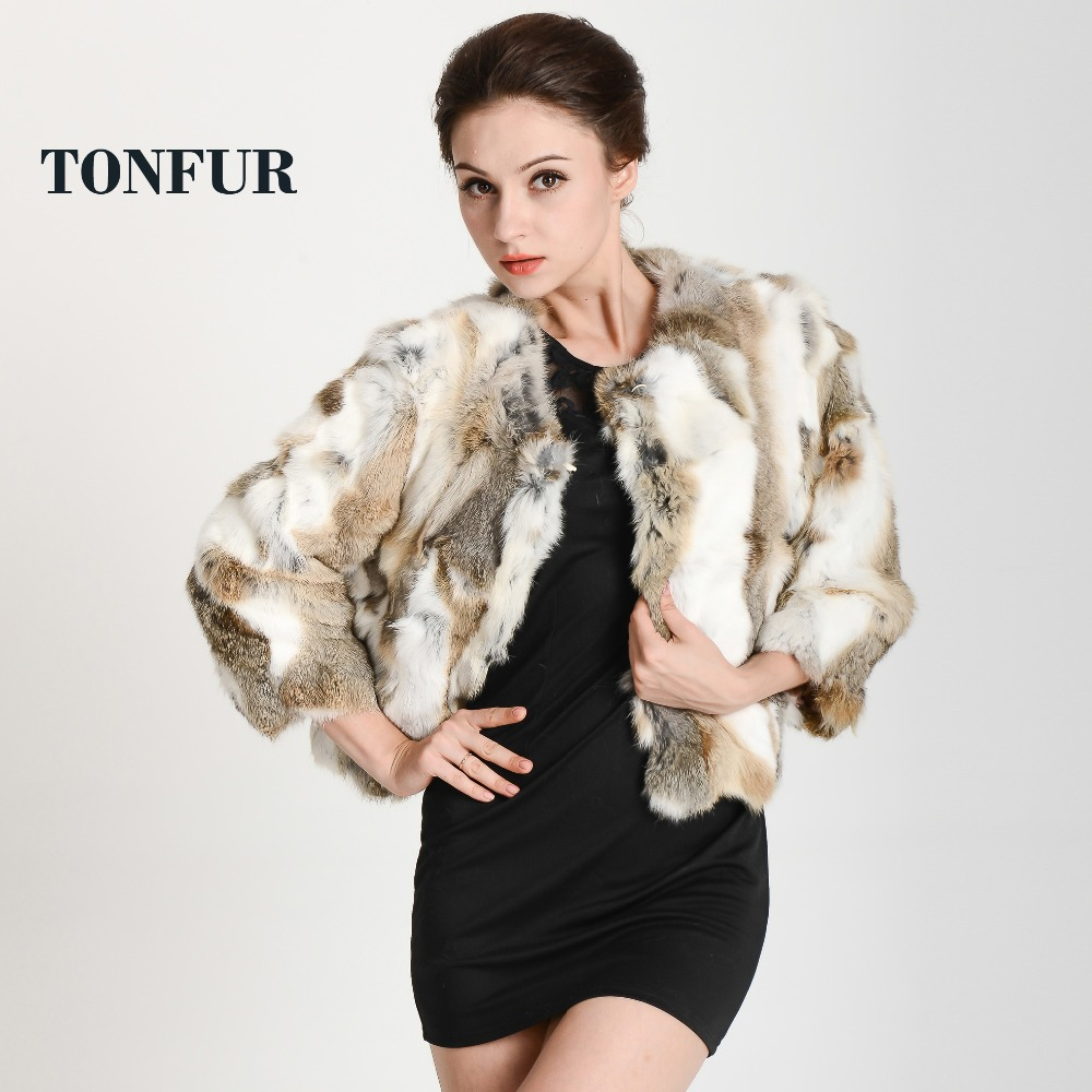 2017 New Women Fashion Brand 100% Real Genuine Natural Rabbit Fur Coat OEM Big Custom Wholesale Factory Fur Jacket FP311(China)