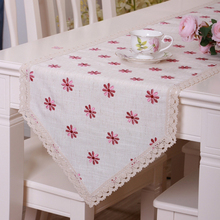 yazi Table Runner Embroidered Pink Daisy Lace Linen Blend Wedding Party Home Kitchen Decor Tablecloth 5 size