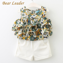 Bear Leader Girls Sets 2017 New Popular Girl Children Clothing Kids Sleevelessl O-Neck Floral Shirt+ White Pants Suit - official store