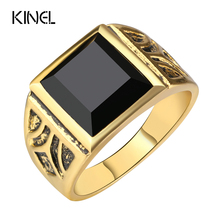 Kinel Dubai Fashion Gold Color Ring Men Wedding Paty Accessories Punk Black Ring Vintage Jewelry Wholesale 2017 New(China)
