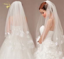 110cm Long ! Wholesale  New Fashion ! Free Shipping ! Hot Sale ! Bridal Veil Wedding Veils BRIDAL ACCESORIES Flower VEIL OV3912