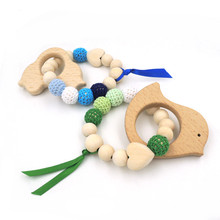 2PCS Wooden teether Toy Mommy jewelry NAVY blue pastel green crochet beads Toy Rattle beech car fish baby gift wooden heart ET88