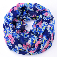 daisy infinity scarf women navy hijab brand flower foulard femme cachecol shawls and scarves summer style neck yarn ring loop(China)