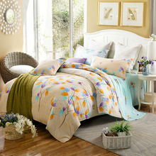 brief style colorful leaves yellow linens bedding sets cotton Twin/Single/Double/Queen Size 4pcs duvet cover set sheets sets(China)