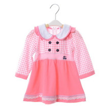 High quanlity baby skit for girl baby long sleeve princess  lattice dress cotton baby dress lace B0125