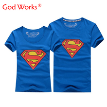 2016 Hot Sale Superman T Shirt Women And Men Lovers Clothes Casual O Neck Short Sleeve T-shirts For Couples