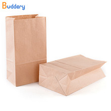 Buddery 50pcs Brown Kraft Paper Bag Thank You Stickers Label Cookie Treat Candy Envelope Wedding Gift for Guests Wrapping(China)