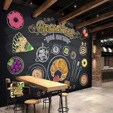 photo wallpaper Hand painted breakfast bread coffee mural custom restaurant fast food restaurant wallpaper corridor mural