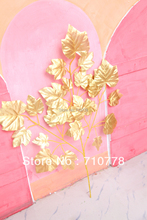100PCS wholesale gold wedding wishing tree maple leaves wedding christmas party festival decoration real touch maple leaf(China)