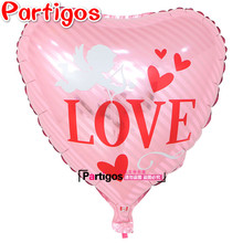 18 inch I Love You Cupid Foil Balloons Valentine Globos Festival Decor Party Supplies Heart Shape Large Size Balloon(China)
