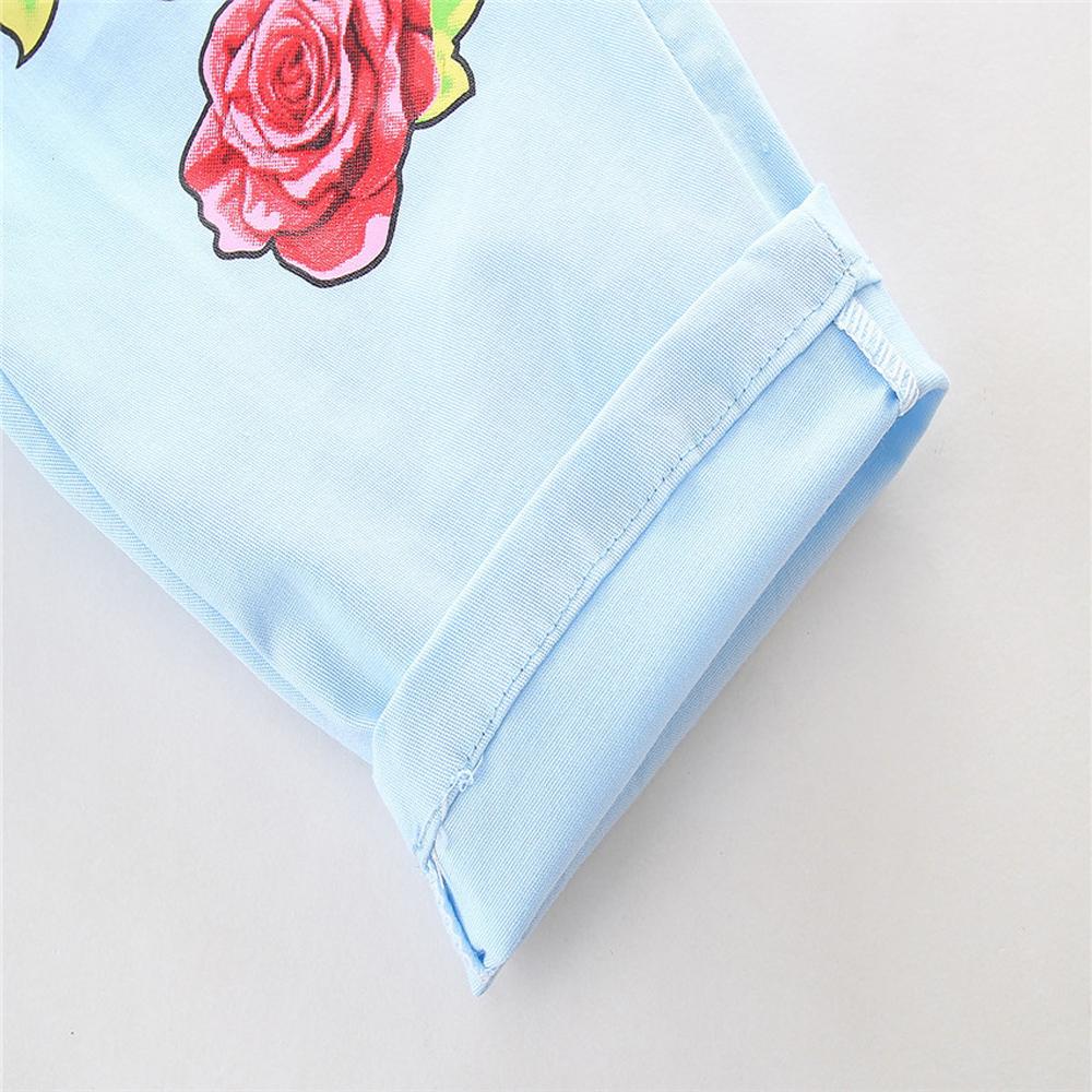 1-7Y En Bas Âge Enfant Bébé Fille Vêtements Coton À Manches Longues O-cou T-shirt Tops Floral Denim Jeans Pantalon 2 pcs Ensemble Bébé vêtements Outfit 9