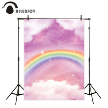 Allenjoy rainbow background for photos purple sky kids cloud watercolor backdrop photo studio printed photobooth