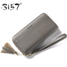 3157 Women Leather Wallet Female Fashion Tassel Zipper Purse For Girls Wristlets Cell Phone Pocket Standard Credit Card Wallets(British Indian Ocean Territory)