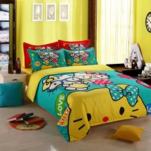 100% Polyester cartoon Green yellow red Hello kitty bedding set Princess bedclothes duvet cover sheet 4pcs twin full queen size(China)
