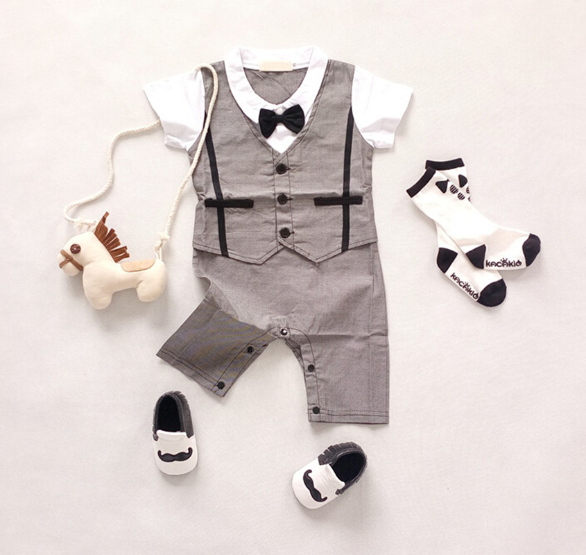 Baby Boys Gentleman Romper Clothing Sets Toddler Short Sleeve Solid Jumpsuit Infant Boys Smart Design Suits Costume Clothes<br><br>Aliexpress