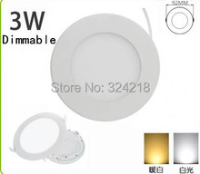 Dimmable Led Panel Light 3W AC85-265V Bright Warm White & White Selective EPILEDS SMD2835 15pcs, Round Shape, With Power Adapter
