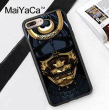 Japan Samurai Mask Printed Soft Rubber Mobile Phone Cases For iPhone 6 6S Plus 7 7 Plus 5 5S 5C SE 4 4S Cover Skin Shell