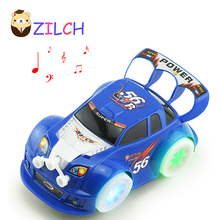Universal Touch Steering Directions LED Flashing Music Electronic Car Toy Automatic Steering Lighting Car Toy Best Gift For Kids(China)
