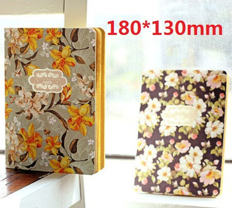 Hot selling Large 180*130mm.retro Garden Flower series Kraft Paper notebook.Korea style Diary.pocket book.retail great deal(China (Mainland))