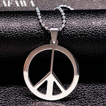 2017 New Peace Symbol Stainless Steel Necklaces for Women Unisex Simple Chain Necklace Jewelry Women And Men Accessories N167261