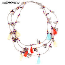 Fashion ZA Women 2017 Round Leaf Tassel Necklace Pendant Garland Collier Femme Collar Choker Boho Maxi Bijoux Statement Jewelry