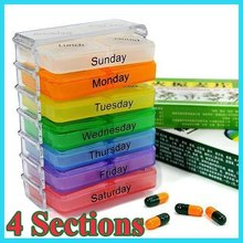 Free shipping Useful Medicine Weekly Storage Pill 7 Day Tablet Sorter Box Container Case Organizer