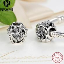 BISAER Pure 925 Sterling Silver Mystic Floral, Clear CZ Beads Charms fit PAN Charm Bracelet DIY Jewelry GOS119(China)