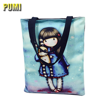 Cute Cartoon Girl Printing Canvas Tote Women Casual Handbag for Teenager Girl Beach Bag Female Large Capacity Daily Shopping Bag