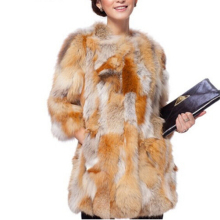 Fashion Genuine Fur Coat 100% Real Red Fox Fur Long Coat Female Trend Fox Fur Jacket women overcoat TFP727(China)
