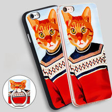 Fab Funky Cat In Ski Sweater Soft TPU Silicone Phone Case Cover for iPhone 5 SE 5S 6 6S 7 Plus