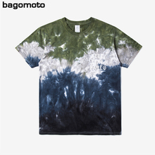 Brand men 's clothing | 2017 abstract gradient striped tie dye print letters men' s round collar short sleeve t-shirts