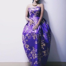 Best Selling Vestidos De Formature Purple Strapless Sleeveless Print Flowers A Line Floor Length Prom Dresses 2017