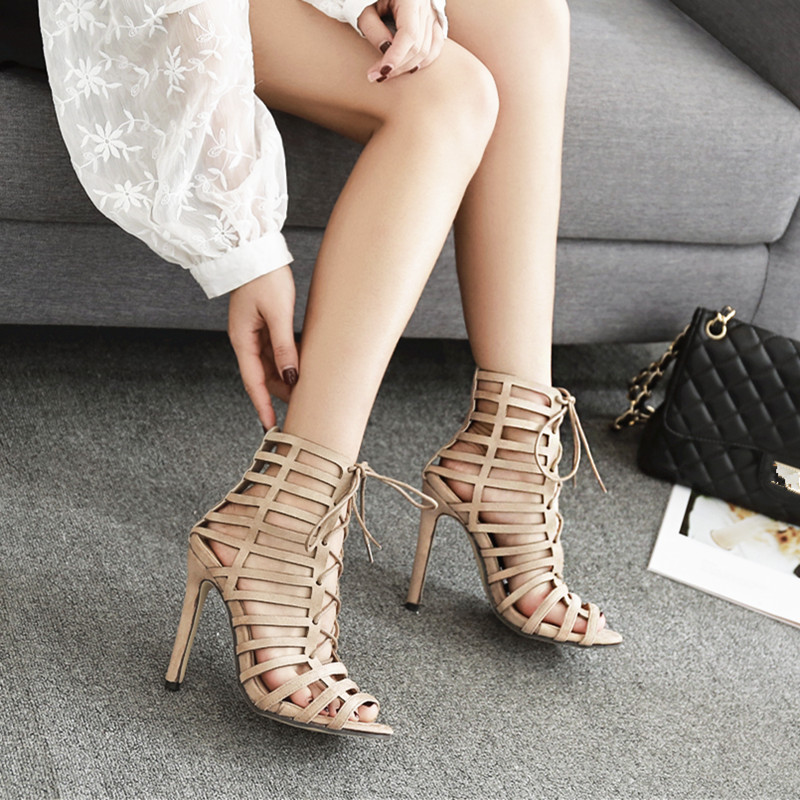 beb549cf2921 Lace Up Sandals Women Caged Heels Summer Ankle Boots Woman Narrow ...